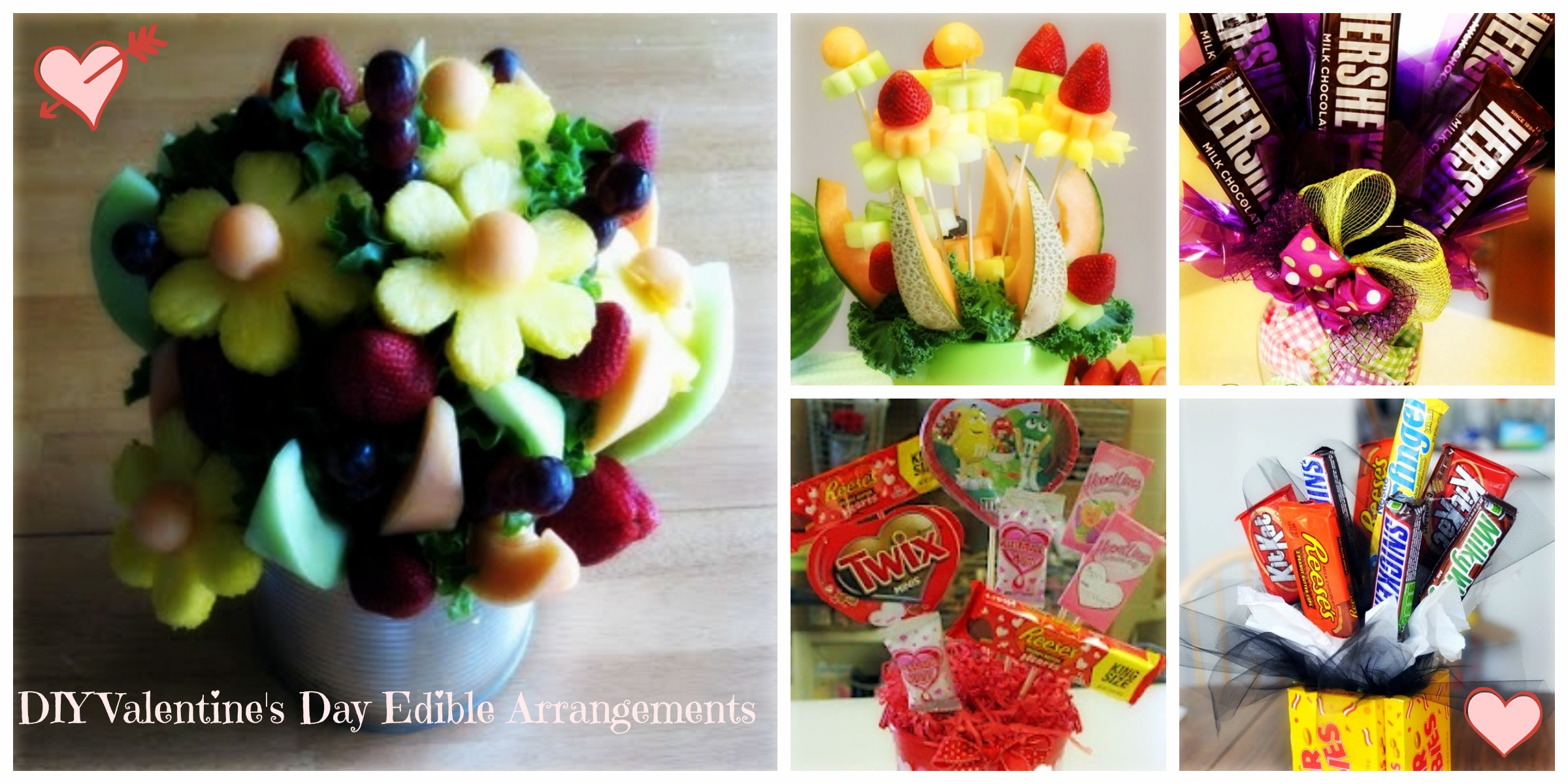 Of candy edible arrangements and 2 photos of fruit edible bouquets